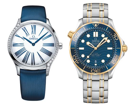 스위스 시계 '오메가'가 올해 새로 선보인 여성용 클래식 시계 '트레저'(왼쪽)와 다이버 시계 '씨마스터 다이버 300M'.