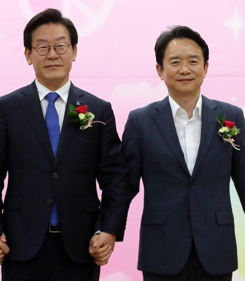 이재명 더불어민주당 경기도지사 후보(왼쪽), 남경필 자유한국당 후보. [뉴스1]