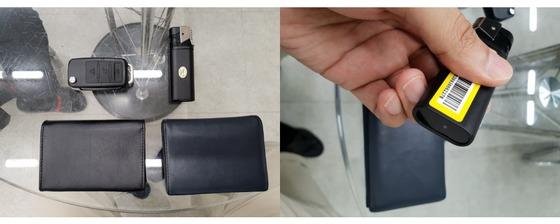 차 열쇠, 라이터, 명함지갑 모양의 초소형 카메라. 실제 명합지갑과 비교해도 구분이 어렵다. 여성국 기자