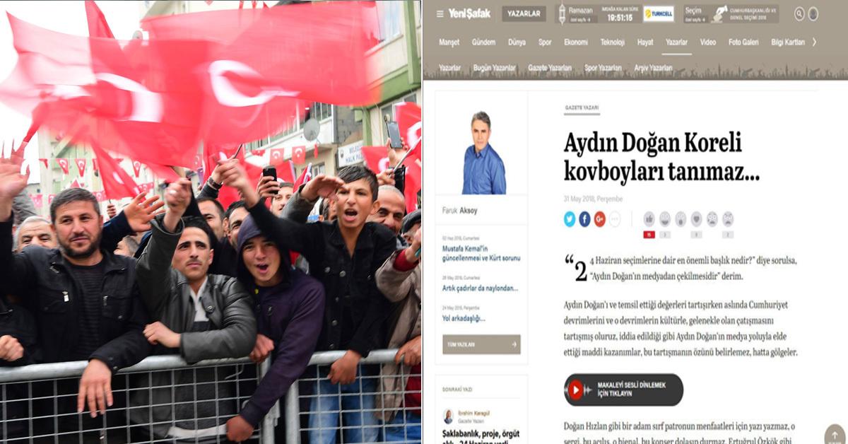"""터키 하카리에서 열린 선거 유세장에서 터키 야당 대선 후보 지지자들이 국기를 흔드는 모습(왼쪽)과 터키 친정부 유력 일간지 칼럼 """"한국 모델, 무비판적 서구화"""" [AP, 터키 일간지 예니샤파크 웹사이트=연합뉴스]"""