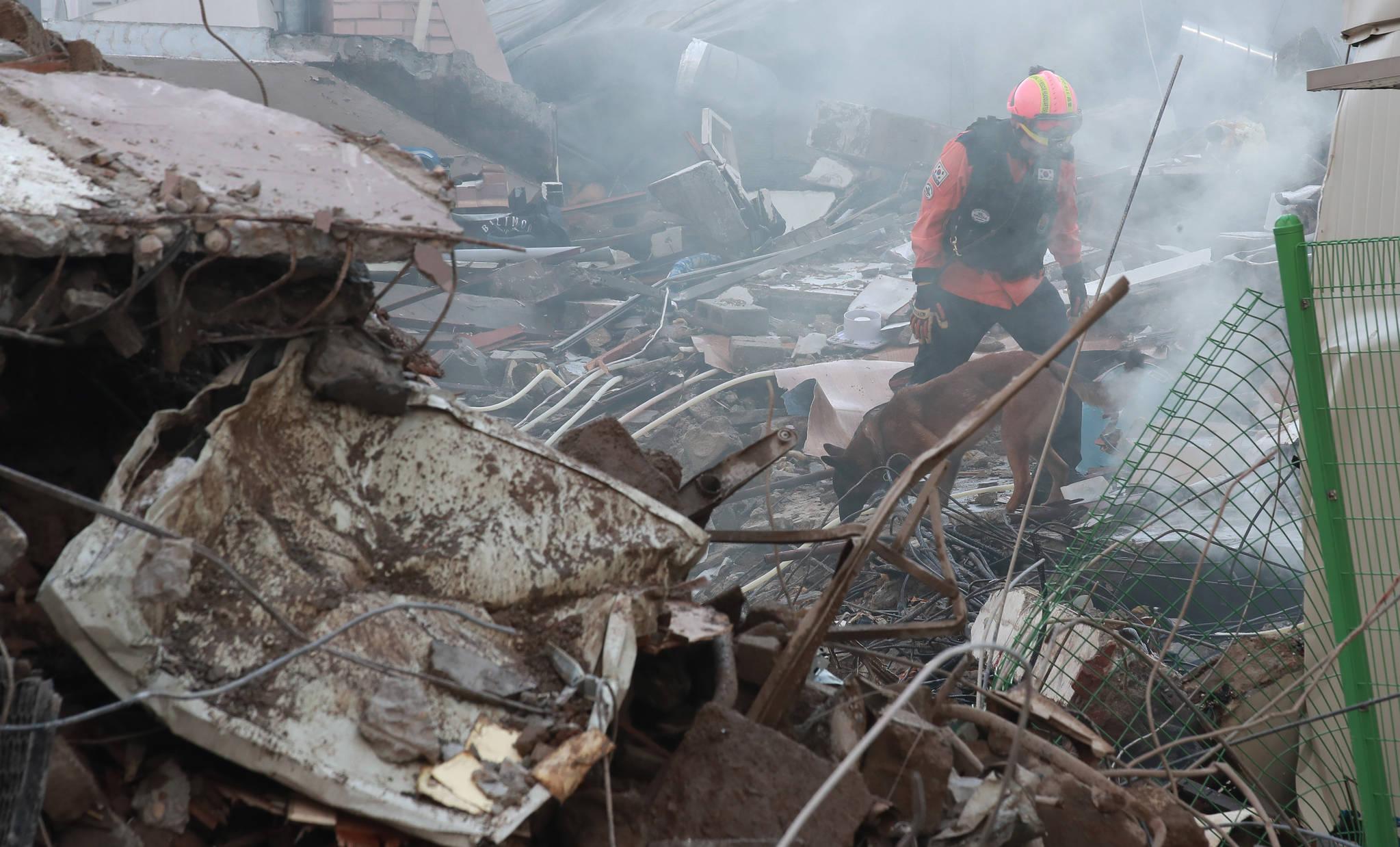 3일 낮 12시 35분께 서울 용산구 한강로 2가 4층짜리 상가 건물이 무너졌다. 건물 붕괴 현장에서 119구조대원들이 인명 구조견과 함께 추가 매몰자가 있는지 수색 작업을 펼치고 있다. [연합뉴스]