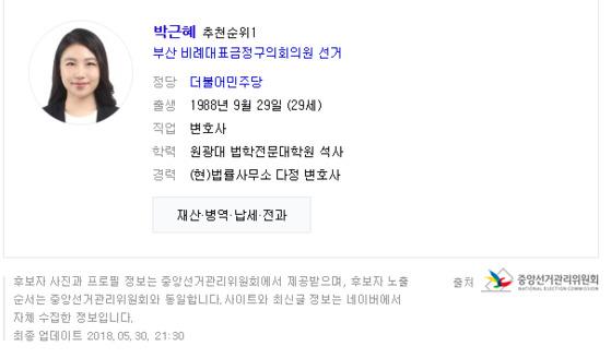 부산 금정구의원 선거에 출마한 민주당 비례대표 1번 박근혜 후보. [네이버 캡쳐]