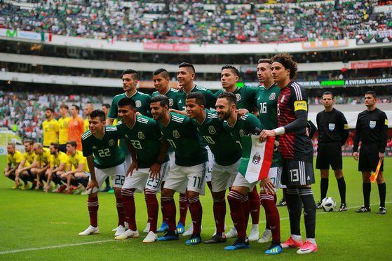 3일 열린 A매치 평가전에 나선 멕시코 축구대표팀. [AFP=연합뉴스]