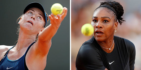 테니스 메이저 대회 프랑스 오픈 16강전에서 맞대결하는 샤라포바(왼쪽)와 윌리엄스. [REUTERS=연합뉴스]