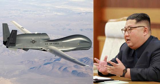 미군의 무인정찰기 글로벌호크(왼쪽)와 김정은 북한 국무위원장 [사진 미 공군, 노동신문]