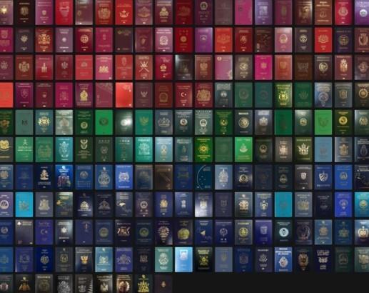 색깔 별로 구분한 각국의 여권 표지. [패스포트 인덱스 캡처]