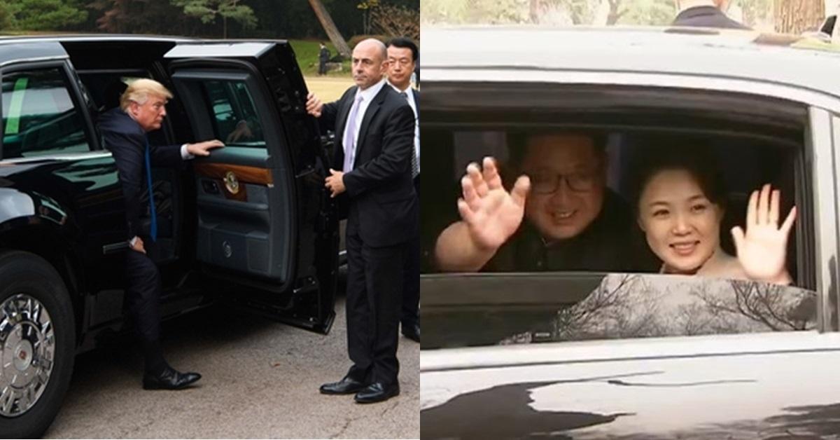 캐딜락 원에서 내리는 도널드 트럼프 미국 대통령(왼쪽)과 김정은·이설주 부부. [중앙포토]