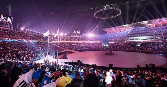 9일 강원도 평창 올림픽스타디움에서 열린 개회식. 평창=김현민 기자
