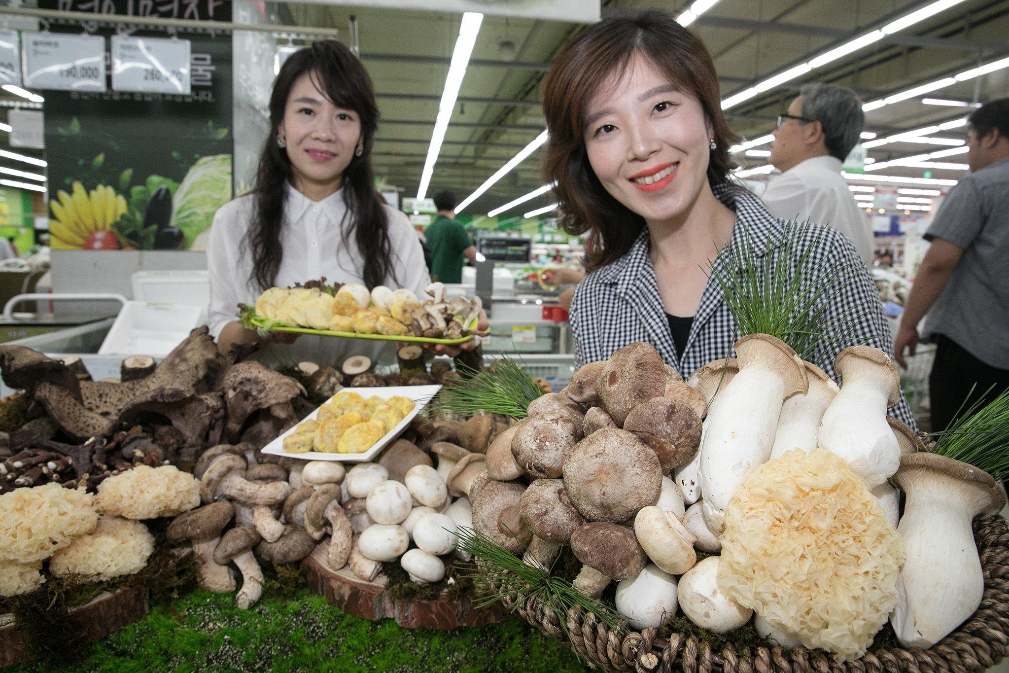 서울 서초구 농협하나로마트 양재점에서 모델들이 산간지역에서 채취한 일능이·삼표고·이송이 등 버섯세트를 소개하고 있다. [뉴시스]