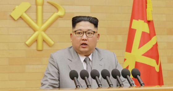 김정은 북한 국무위원장이 올해 1월 1일 오전 중앙위원회 청사에서 신년사를 발표하고 있다. [연합뉴스]