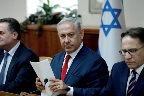 ?지난 5월 27일(현지시간) 베냐민 네타냐후 이스라엘 총리가 주례 각료회의에 참석해 발언하고 있다. / 사진:연합뉴스