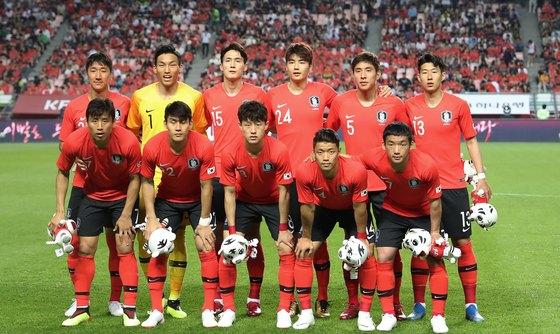 9회 연속 월드컵 본선행을 이룬 한국축구대표팀. [뉴스1]