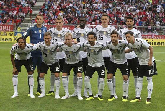 4년 전 브라질 대회에 이어 월드컵 2연패에 도전하는 독일축구대표팀. [AP=연합뉴스]