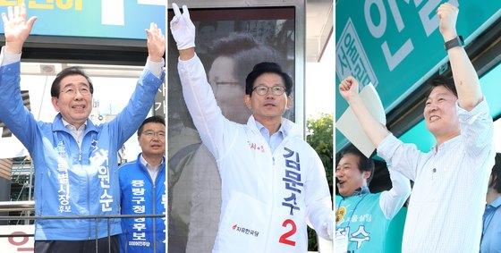 서울시장 후보들이 6.13 지방선거를 하루 앞둔 5일 시민들에게 지지를 호소하고 있다. [뉴스1]