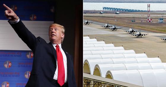 트럼프 미국 대통령과 한미연합훈련 모습 [로이터=연합뉴스, 중앙포토]