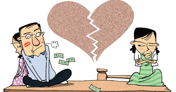지난해 외도나 바람 등 배우자의 부정한 행위를 이유로 이혼한 부부 비중이 7년 만에 상승세로 전환했다. [중앙포토]