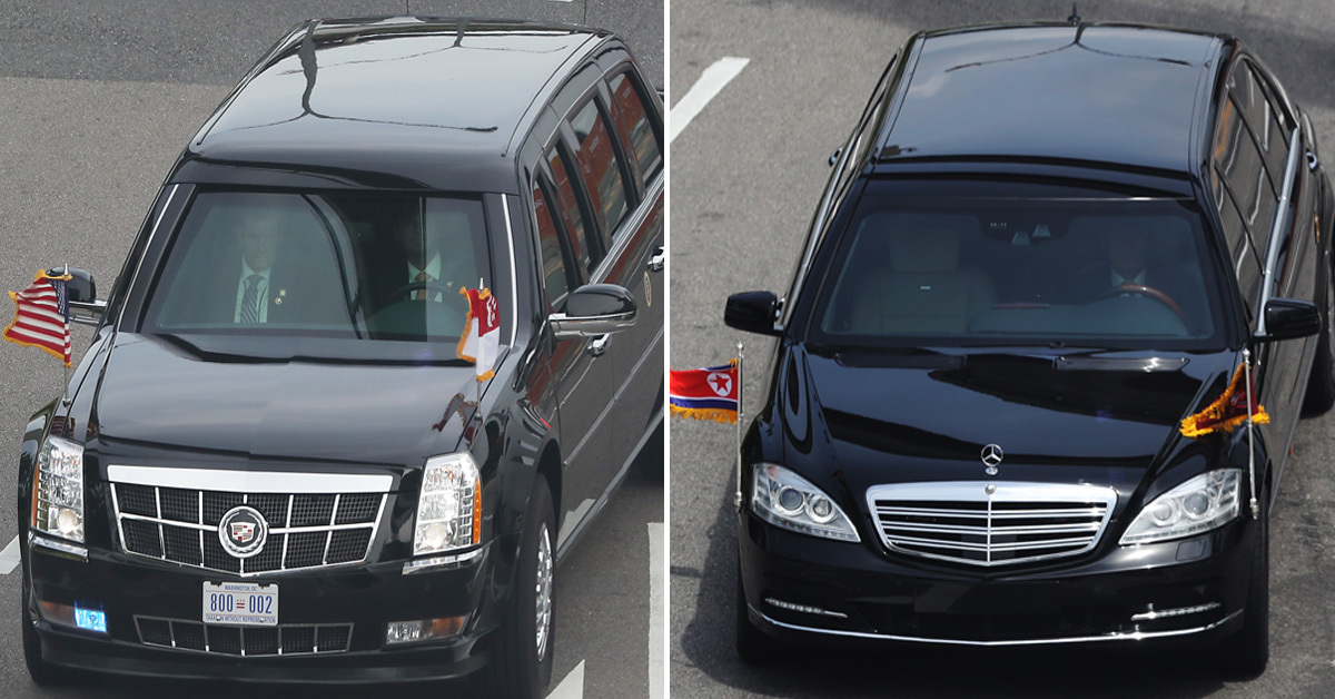 도널드 트럼프 대통령의 경호 차량 캐딜락 원(왼쪽)과 김정은 북한 국무위원장의 경호 차량 풀만가드(오른쪽) [연합뉴스]
