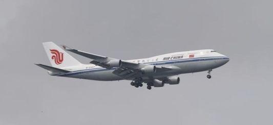 북한 김정은 국무위원장이 탑승한 에어차이나 항공기가 지난 10일 싱가포르 창이공항을 향해 비행하고 있다. [스트레이츠타임스 캡처=연합뉴스]