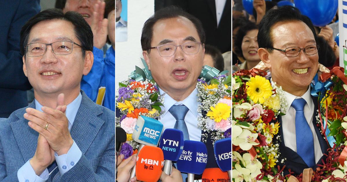 (왼쪽부터) 김경수(경남지사)·오거돈(부산시장)·송철호(울산시장) 당선인. 송봉근 기자