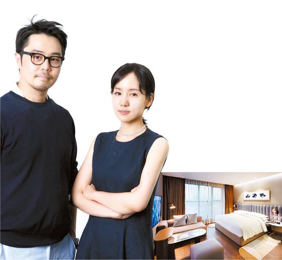 인테그의 송승원, 조윤경 대표. 두 사람은 라이즈 호텔 전체 디자인의 프로젝트 매니저로 활약하는 한편 객실용 소파를 직접 디자인하기도 했다.