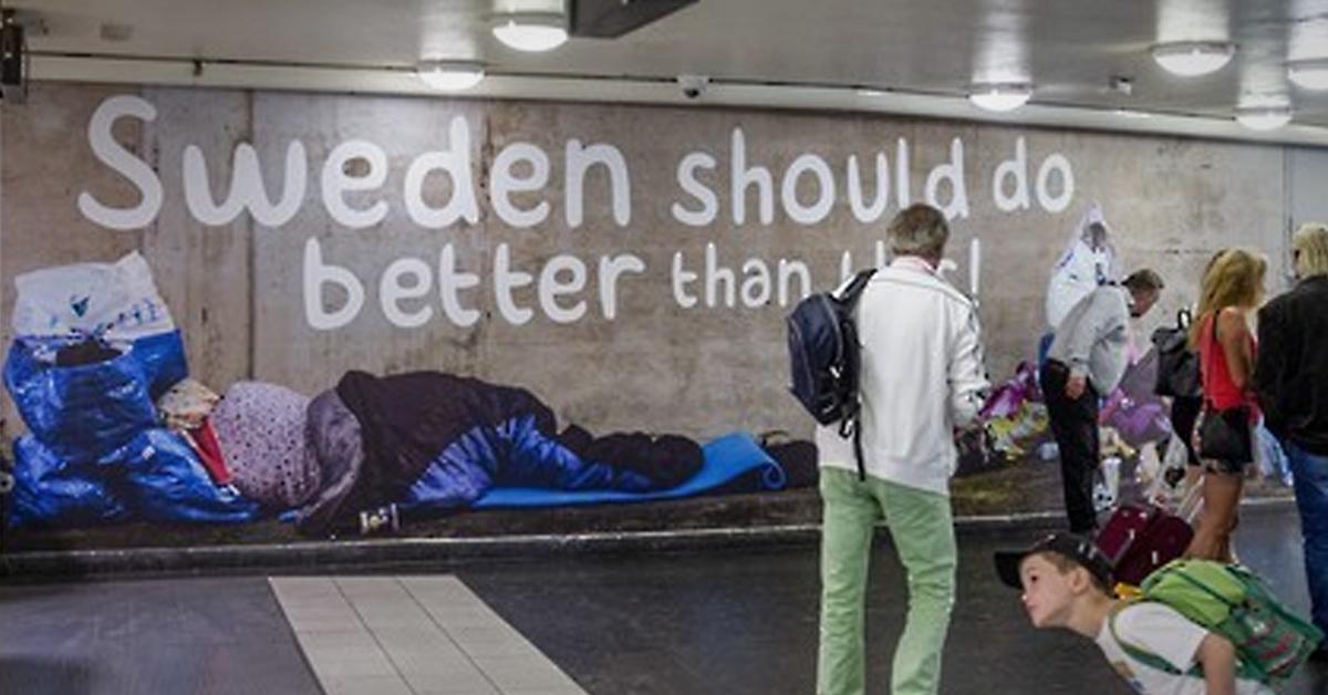 스웨덴 민주당은 자국 내에서 비난을 받고 있는 구걸 행위에 대해 캠페인을 벌이고 있다. [EPA=연합뉴스]