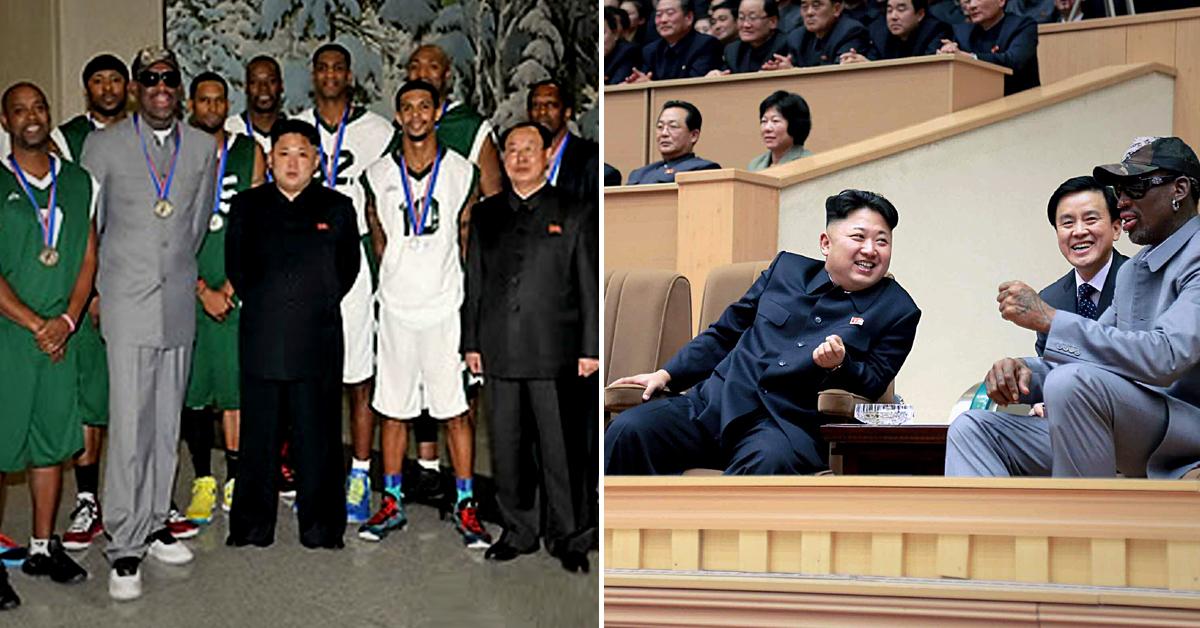사진은 미국프로농구(NBA) 선수 출신 농구스타 데니스 로드먼이 지난 2014년 1월 8일 방북해 평양 실내 체육관에서 친선 경기 관전 당시 모습. [조선중앙통신]