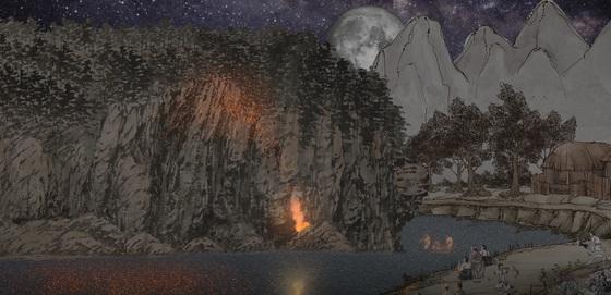 화순문화원에서 제작한 '적벽낙화' 홀로그램 영상 중 한 장면. [사진 한국문화원연합회]