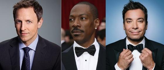 왼쪽부터 토크쇼 진행자인 세스 마이어스, 영화배우 에디 머피, 투나잇쇼를 진행하는 지미 팰런.