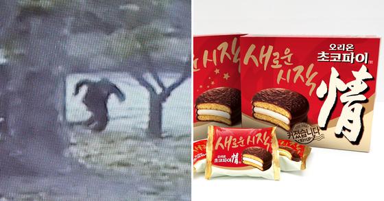 북한 병사 오씨의 귀순 장면이 담긴 CCTV 화면과 초코파이. [최정동 기자·중앙포토]