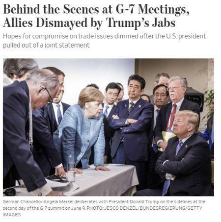 트럼프 대통령이 이달 초 열린 G7 정상회의에서 다른 국가 정상들에 폭언에 가까운 막말을 했다고 16일(현지시간) 보도했다. [사진 WSJ 온라인판 갈무리]