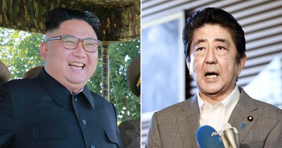 김정은 북한 국무위원장과 아베 신조 일본 총리.[연합뉴스]