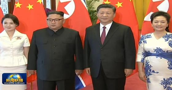김정은 북한 국무위원장과 시진핑(習近平) 중국 국가주석이 19일 베이징에서 3번째 정상회동을 했다. [사진 CCTV 캡처]
