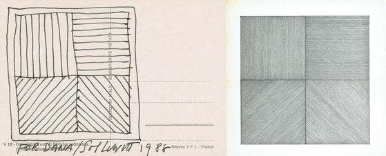 솔 르윗(Sol Lewitt, 1928~2007)의 Wall Drawing. 왼쪽 밑그림이 개념에 대한 문서이고, 오른쪽 그림이 고용인들이 그린 그림이다. [사진 송민]