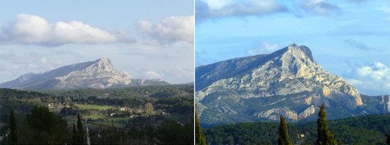 생빅투아르산의 실제 사진. 왼쪽이 멀리서 본 산이고, 오른쪽이 가까이서 본 산이다. 세잔의 생빅투아르산 그림은 왼쪽의 사진처럼 멀리서 본 산이나, 오른쪽 사진처럼 가까운 시점 두 가지로 그렸다. [사진 송민]