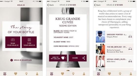 스마트 폰 앱을 통해 크룩 샴페인의 ID를 인식시키면 해당 샴페인의 정보와 함께 추천 음악을 볼 수 있을 뿐 아니라 이를 실행해 곡을 바로 들을 수 있다. 자신들의 샴페인과 음악의 궁합을 적극적으로 추천. [이미지 출처 https://itunes.apple.com/ ]