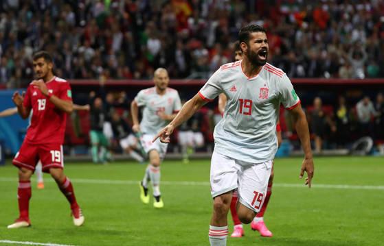 '2018 러시아 월드컵' 조별리그 B조 2차전에서 후반 9분 지에구 코스타가 결승골을 넣고 환호하고 있다. [로이터=연합뉴스]