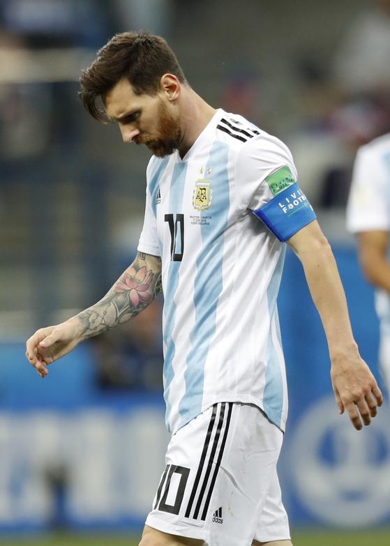 축구의 신이라 불리는 아르헨티나 공격수 메시가 월드컵 조기 탈락 위기에 몰렸다. [AP=뉴시스]