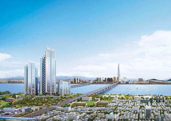 서울 광진구 자양동에서 조합원을 모집 중인 워너스리버는 '한강 조망' 아파트로 높은 관심을 끌고 있다. 지역주택조합 방식으로 지어져 인근 새 아파트보다 10~20% 정도 저렴한 가격에 내 집 마련이 가능하다. 사진은 워너스리버 조감도.