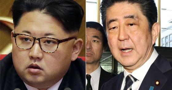 김정은 북한 국무위원장과 아베 신조 일본 총리. [연합뉴스]
