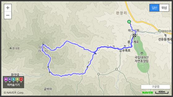 용추계곡-용추폭포-월영대-밀재-대야산-피아골-월영대-용추계곡. [사진 하만윤]