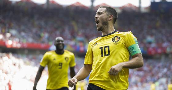 골을 넣고 기뻐하는 벨기에의 에덴 하자드 [AP=연합뉴스]