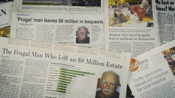 평생 주유소 종업원으로 일하다 말년에 잠시 동네 작은 백화점 점원으로 일했던 로널드 리드(Ronald Read)는 자신의 재산 800만 달러(한화 약 90억원 상당)를 사회적 약자를 위해 남겼다. [사진 Brattleboro Memorial Hospital 유튜브 화면 캡쳐]