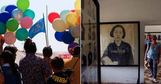 3월 캄보디아 프놈펜에서 열린 '세계 여성의 날' 기념 행사(왼쪽). 오른쪽 사진은 크메르 루즈 정권때 희생된 한 여성의 사진. [AP=연합뉴스]