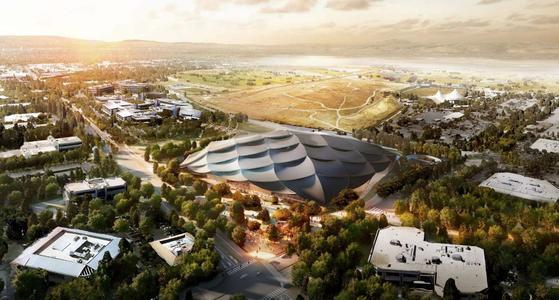 구글의 새 캠퍼스 조감도.구글은 캘리포니아 마운틴뷰 한가운데에 대형 '은색 텐트'를 칠 예정이다. 부지 규모는 7만5000㎡로 이 안에 연구소, 카페, 사무실, 공연 장소 등을 채워 넣고 공원과 광장을 배치해 열린 공간으로 만들겠다는 구상이다.[연합뉴스]