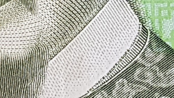 한국은행이 발행한 만원권 지폐를 자세히 살펴보면 세종대왕의 옷깃에 한글 자모가 쓰여 있다. [윤석만 기자]