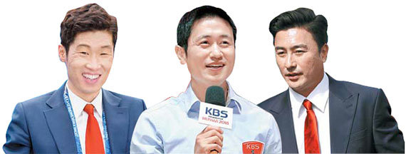 2002 한·일 월드컵 4강 영웅들이 2018 러시아 월드컵에선 지상파 방송 3사 해설자로 뜨거운 경쟁을 펼치고 있다. 왼쪽부터 박지성(SBS)·이영표(KBS)·안정환(MBC) 해설위원. [연합뉴스]