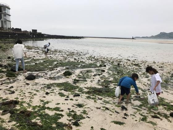 '비치코밍'의 일환으로 열린 '바라던바다' 축제 참가자들이 쓰레기를 줍고 있다. [최충일 기자]