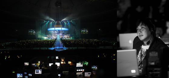 출연진 100명, 오케스트라 50명 등 초대형 콘서트로 큰 화제가 되었던 2009년 박효신 10주년 기념공연 무대(좌)와 연출가 자리의 장현기 대표(우). [사진 이상원]