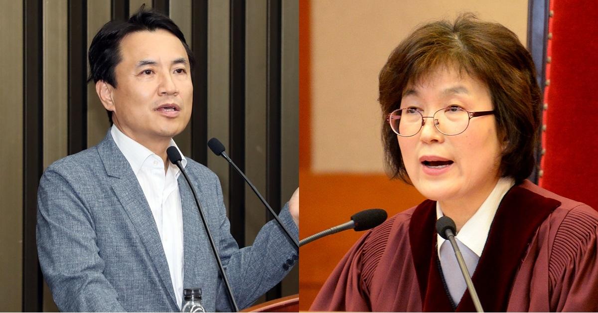 자유한국당 김진태 의원(왼쪽), 이정미 전 헌법재판관. [연합뉴스, 뉴스1]