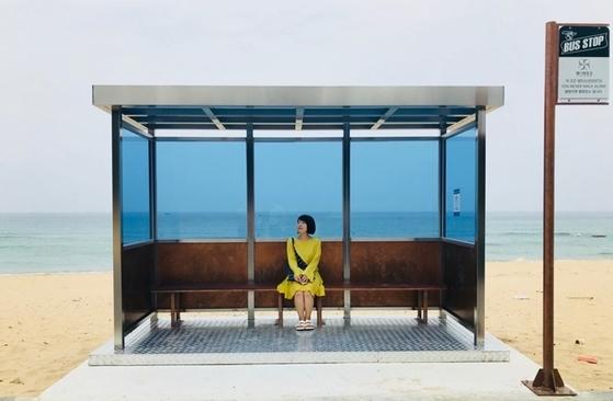 The 'Bangtan Bus Stop' photo zone installed at Jumunjin beach, Photo by Voomvoom